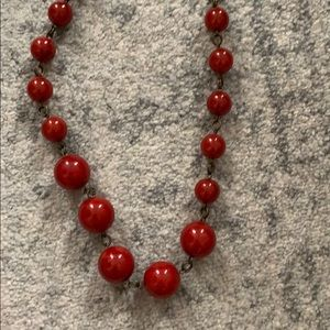 Red beaded necklace (long with adjustable clasp)